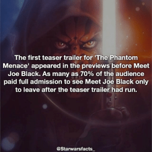 Q: Who is your favorite Star Wars villain? -: The first teaser trailer for 'The Phantom  Menace appeared in the previews before Meet  Joe Black. As many as 70% of the audience  paid full admission to see Meet Joe Black only  to leave after the teaser trailer had run.  @Starwarsfacts Q: Who is your favorite Star Wars villain? -