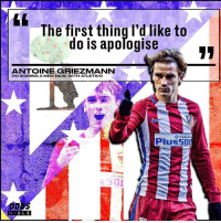 Antoine Griezmann has extended his contract at Atletico Madrid until 2022.: The first thing I'd like to  do is apomogise  ANTOINE GRIEZMANN  ON SIGNING A NEW DEAL WITH ATLETICO  Trade  plus 500  tle Onli  B I BLE Antoine Griezmann has extended his contract at Atletico Madrid until 2022.