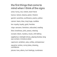 corny jokes: the first things that come to  mind when l think of the signs  aries: funny, red, violent, best friend  taurus: nature, beauty, green, flowers  gemini: sunshine, sunflowers, poetry, yellow  cancer: tears, blue, long hugs, cuddles  leo: royalty, loyalty, gold, freckles  virgo: sarcasm, feminism, educated, reading  libra: loneliness, pink, peace, relaxing  scorpio: black, mystery, music, shit talking  sagittarius: midnight drives, playing footsie, long  eye contact, immature jokes  capricorn: ambition, asia, coffee, entrepreneur  aquarius: anime, corny jokes, drawing,  confidence  pisces: love, aliens, hurt feelings, numbness