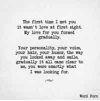 Love, Hair, and Porn: The first time I met you  it wasn't love at first sight.  My love for you formed  gradually  Your personality, your voice,  your hair, your humor, the way  you looked away and smile,  gradually it all came clear to  me, you were exactly what  I was looking for.  Word Porn