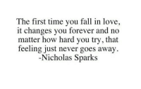 Nicholas Sparks: The first time you fall in love,  it changes you forever and no  matter how hard you try, that  feeling just never goes away  Nicholas Sparks