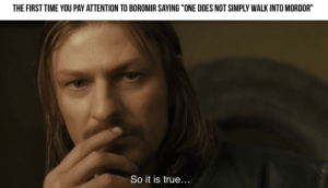 """Squeeze the last drops out of this scene..: THE FIRST TIME YOU PAY ATTENTION TO BOROMIR SAYING """"ONE DOES NOT SIMPLY WALK INTO MORDOR""""  So it is true... Squeeze the last drops out of this scene.."""