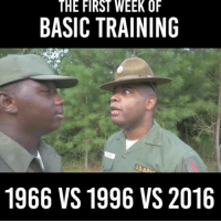 training: THE FIRST WEEK OF  BASIC TRAINING  USAP  1966 VS 1996 VS 2016