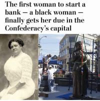 """repost (@moorinformation) """"RICHMOND, Va. - The monument honoring Maggie Walker was revealed to the public during a special ceremony Saturday morning on what would have been the Richmond icon and entrepreneur's 153rd birthday. The statue of Maggie Lena Walker is located in downtown Richmond at Broad and Adams streets, which is a gateway to the Jackson Ward neighborhood where many of her life accomplishments occurred."""": The first woman to start a  bank - a black woman  finallv gets her due in the  Confederacy's capital repost (@moorinformation) """"RICHMOND, Va. - The monument honoring Maggie Walker was revealed to the public during a special ceremony Saturday morning on what would have been the Richmond icon and entrepreneur's 153rd birthday. The statue of Maggie Lena Walker is located in downtown Richmond at Broad and Adams streets, which is a gateway to the Jackson Ward neighborhood where many of her life accomplishments occurred."""""""