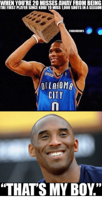"Closing in on history. ThunderNation: THE FIRSTPLAYER SINCE KOBE TO MISS 1000 SHOTS IN ASEASON  @NBAMEMES  OKLAHOMA  CITY  ""THATS MY BOY"" Closing in on history. ThunderNation"