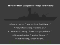 "Memes, Boots, and Chiefs: The Five Most Dangerous Things in the Navy  A Seaman saying, ""I learned this in Boot Camp...""  A Petty Officer saying, ""Trust me, sir...""  A Lieutenant JG saying, ""Based on my experience...""  A Lieutenant saying, ""I was just thinking...""  A Chief chuckling, ""Watch this shit..."" @valhallawear"