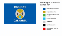 That's what the calabrian flag stands for.  Dal nostro gruppo bellix, link nei commenti: The flag of Calabria  stands for:  REGIONE  beautiful panoramas  tropical beaches  great mountains and  crystal seasides  Sila snow  CALABRIA  familiar cuisine  legality and hate for  omertà That's what the calabrian flag stands for.  Dal nostro gruppo bellix, link nei commenti