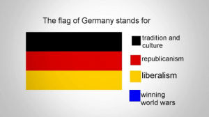 Their Flag Truly Includes Everything.: The flag of Germany stands for  tradition and  culture  republicanism  liberalism  winning  world wars Their Flag Truly Includes Everything.