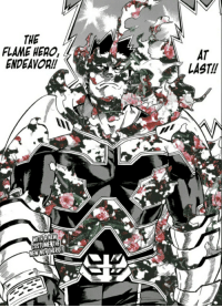 <p>Endeavor&rsquo;s new costume looks good</p>: THE  FLAME HER0,  ENDEAVOR!!  AT  LAST!  WITHANEW  COSTUMETH <p>Endeavor&rsquo;s new costume looks good</p>