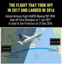 boe: THE FLIGHT THAT TOOK OFF  IN 2017 AND LANDED IN 2016  United Airlines flight UA890 (Boeing 787-900)  took off from Shanghai on 1 Jan 2017  to land in San Francisco on 31 Dec 2016.  31st Dec 2016  1 5 min  lst Jan 2017  San Francisco, CAOa  North  Pacilic  Intemational Airport  Ocean