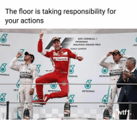 """When did I do dangerous driving?"" Credit: @theloganstone f1 formula1 azerbaijangp wtf1: The floor is taking responsibility for  vour actions  2015 FORMULA 1  PETRONAS  TRONAS  MALAYSIA GRAND PRIX  KUALA LUMPUR  Santander  ON  RON  PETRONAS  RONAS  RONAS  PETRONA  PETRON  PETRONAS  RON  TRONAS  ONAS  PETR  tf ""When did I do dangerous driving?"" Credit: @theloganstone f1 formula1 azerbaijangp wtf1"