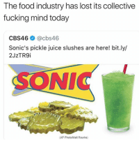 The food industry has lost its collective  fucking mind today  CBS46 @cbs46  Sonic's pickle juice slushes are here! bit.ly/  2J2TR9İ  SONIC  (AP Photo/Matt Rourke) Oh hell naw! U trying this? 🥤