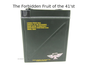 Mars, Power, and Local: The Forbidden Fruit of the 41'st  LASGUN POWER PACK  CAPACITY: 97-166 DISCHARGES  RANGE RATING: 19 MEGATHULE  DEPARTMENTO MUNITORUM ISSUE  ORIGIN: MARS  863.M41  u/Luxosaucen  CONFIRM COMPATIOILTY WITH TECHPRIEST PRIOR  TO USING THIS POWER PACK Contact your local tech priest if consumption of these munitions occurs.