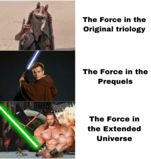 Universe, Force Unleashed, and Force: The Force in the  Original triology  The Force in the  Prequels  The Force in  the Extended  Universe Anyone remembers The Force Unleashed?