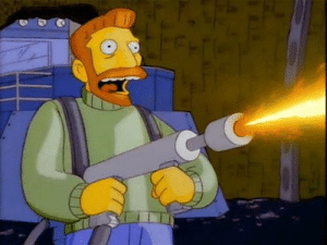 Tesla, Usa, and Elon Musk: The founder of Tesla, Elon Musk, tests the new flamethrower produced by his company. Usa, 2018.