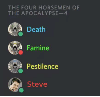 Death, Apocalypse, and Four Horsemen: THE FOUR HORSEMEN OF  THE APOCALYPSE-4  Death  Famine  Pestilence  Steve me💀irl