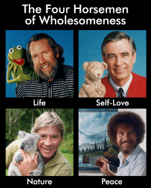 Life, Love, and Tumblr: The Four Horsemen  of Wholesomeness  Life  Self-Love  Nature  Peace awesomacious:  The four horsemen of wholesomeness
