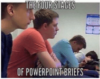 College, Death, and Mean: THE FOUR STAGES  OF POWERPOIN BRIEFS You'd think officers and their college training would mean that they'd know better than to death-by-PowerPoint their troops.