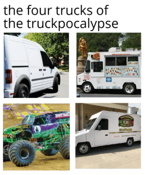 *taco truck horn*: the four trucks of  the truckpocalypse  #NewTerkiceCram  SLOW  E GRES  ibi  SUFT IE CHEAN  GRAVE DISGEN  TACO MOMMA'S  MEXICON FOO  316-871-9600  Secial Events &Cing *taco truck horn*