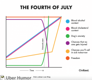 Dogs, Tumblr, and Uber: THE FOURTH OF JULY  Blood alcohol  content  Blood cholesterol  content  Dog's anxiety  Chances that no  one gets injured  Chances you'll call  in sick tomorrow  Freedom  Civilized  Time  Bob Loblaw Law Blog  Uber Humor  Fireworks start failnation:  Fourth of July