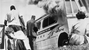 The Freedom Riders watch as their bus burns to the ground (1961): The Freedom Riders watch as their bus burns to the ground (1961)
