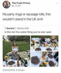 Fresh, Party, and Prince: The Fresh Prince  @_TY 97  No party rings or sausage rolls, this  wouldn't stand in the UK smh  Aurora @disey348  Is this not the cutest thing you've ever seen  ,少  23/02/2018, 6:25 pm Go follow @humor for wild videos😂🔥😱