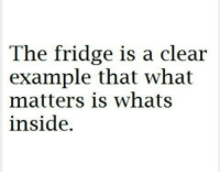 Fridge, Clear, and Inside: The fridge is a clear  example that what  matters is whats  inside.