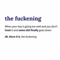"""Shit, Girl Memes, and Yes: the fuckening  When your day is going too well and you don't  trust it and some shit finally goes down  Ah, there it is, the fuckening. """"ah yes, the fuckening"""""""