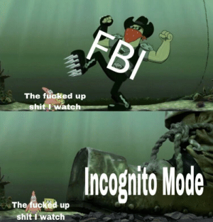 Shit, Incognito, and Watch: The fuoked up  shitIwatch  Incognito Mode  The fucked up  shit I watch B I G G E R B O O T