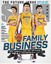Redesigned SLAM Magazine's recent cover. I think this is Lavar Ball's wildest dream. VNdesign: THE FUTURE ISSUBDERFRHE HERE  -WHERE THE GAME  GOES FROM HERE  AKERS  KERS  키-  GOLDEN  STATE  WARRIORS  FRANK  NTILIKINA  LAURI  MARKKANEN  DENNIS SMITH JR  MOSES BROWN  ALDING  PHILADELPHIA  76ERS  VN DESIGN  BUSINESS  LONZO, LIANGELO & LAMELO BALL ARE PLAYING  BY THEIR OWN RULES BY LAVAR BALL Redesigned SLAM Magazine's recent cover. I think this is Lavar Ball's wildest dream. VNdesign