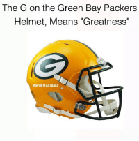 "😱 ••• 🌴Follow (me) for more daily sport facts! ⇒@sportfactuals🌴: The G on the Green Bay Packers  Helmet, Means ""Greatness""  GSPORTFACTUALS 😱 ••• 🌴Follow (me) for more daily sport facts! ⇒@sportfactuals🌴"