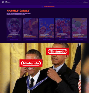 Nintendo at the game awards 2019 for family games.: THE  GAME  AWARDS  Firolink  LIVE  NEWS  NOMINEES  PLAYER'S VOICE  WATCH  HISTORY  ABOUT  VIEW CATEGORIES  FAMILY GAME  FOR THE BEST GAME APPROPRIATE FOR FAMILY PLAY,  IRRESPECTIVE OF GENRE OR PLATFORM.  SUPER SMASH  BROS, ULTIMATE  YOSHI'S CRAFTED  WORLD  SUPER MARIO  MAKER 2  RING FIT  ADVENTURE  LUIGI'S MANSION 3  SORA/BANDAI NAMCO  NINTENDO  NEXT LEVEL GAMES/  NINTENDO  NINTENDO EPD/NINTENDO  GOOD-FEEL/NINTENDO  NINTENDO EPD/NINTENDO  VOTING CLOSED  VOTING CLOSED  VOTING CLOSED  VOTING CLOSED  VOTING CLOSED  Nintendo  Nintendo Nintendo at the game awards 2019 for family games.