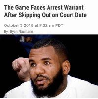 "STORY via THE BLAST - ""The Game attempted to skip out on a court hearing — citing his appearance on the ""Wild N' Out"" — but the judge wasn't interested in his excuses and issued a warrant for his arrest. According to court documents obtained by The Blast, a judge found The Game in contempt of court for failing to appear for a hearing in his sexual assault case. The rapper had been ordered to show up, but he tried to claim he was too busy. Earlier this week, The Game filed court docs saying he had contractual obligations during October, including the final stretch of ""Nick Cannon Presents: Wild 'N Out Live."" Game claimed to have been trying to get all his financial information to turn over to Priscilla Rainey after he had been ordered to do. He asked the judge to allow his lawyer to represent him during the hearing. The judge wasn't impressed and instead found the rapper in contempt and issued a bench warrant for his arrest. The warrant was stayed until October 5 at 9:00 AM, meaning the rapper has time to show up in court before he is arrested. Priscilla Rainey was a contestant on The Game's VH1 reality show ""She's Got Game."" In her 2015 lawsuit, she claimed that during production, the rapper sexually assaulted her by forcefully reaching his hand inside her dress to rub her bare vagina and buttocks. A jury awarded her $7 million in damages. Rainey has accused The Game of refusing to turn over financial docs and at one point demanded he be found in contempt. She claimed he has yet to pay a dime on the judgment. The rapper demanded a new trial saying the judgment was too high but the judge recently shut him down saying the evidence proved Rainey's case to the jury."" ( via @blast): The Game Faces Arrest Warrant  After Skipping Out on Court Date  October 3, 2018 at 7:32 am PDT  By Ryan Naumann STORY via THE BLAST - ""The Game attempted to skip out on a court hearing — citing his appearance on the ""Wild N' Out"" — but the judge wasn't interested in his excuses and issued a warrant for his arrest. According to court documents obtained by The Blast, a judge found The Game in contempt of court for failing to appear for a hearing in his sexual assault case. The rapper had been ordered to show up, but he tried to claim he was too busy. Earlier this week, The Game filed court docs saying he had contractual obligations during October, including the final stretch of ""Nick Cannon Presents: Wild 'N Out Live."" Game claimed to have been trying to get all his financial information to turn over to Priscilla Rainey after he had been ordered to do. He asked the judge to allow his lawyer to represent him during the hearing. The judge wasn't impressed and instead found the rapper in contempt and issued a bench warrant for his arrest. The warrant was stayed until October 5 at 9:00 AM, meaning the rapper has time to show up in court before he is arrested. Priscilla Rainey was a contestant on The Game's VH1 reality show ""She's Got Game."" In her 2015 lawsuit, she claimed that during production, the rapper sexually assaulted her by forcefully reaching his hand inside her dress to rub her bare vagina and buttocks. A jury awarded her $7 million in damages. Rainey has accused The Game of refusing to turn over financial docs and at one point demanded he be found in contempt. She claimed he has yet to pay a dime on the judgment. The rapper demanded a new trial saying the judgment was too high but the judge recently shut him down saying the evidence proved Rainey's case to the jury."" ( via @blast)"