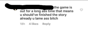 Ass, Bitch, and Instagram: the game is  out for a long ass time that means  should've finished the story  already u lame ass bitch  4 likes  Reply  18h Instagram trash spoils a game for someone and then abuses them