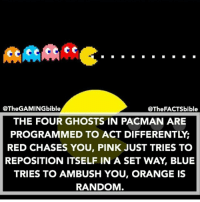 Did you know this? Via @thefactsbible: @The GAMINGbible  @The FACTSbible  THE FOUR GHOSTS IN PACMAN ARE  PROGRAMMED TO ACT DIFFERENTLYG  RED CHASES YOU, PINK JUST TRIES TO  REPOSITION ITSELF IN A SET WAY, BLUE  TRIES TO AMBUSH YOU, ORANGE IS  RANDOM Did you know this? Via @thefactsbible
