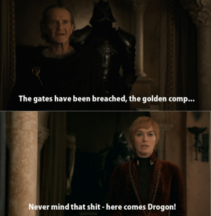 Shit, Animal, and Mind: The gates have been breached, the golden comp...  Never mind that shit - here comes Drogon! Hey, you can't park that animal over there....it's illegal.