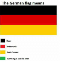 bratwurst: The German flag means  Beer  Bratwurst  Lederhosen  Winning a World War