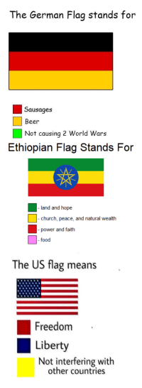 "Beer, Church, and Food: The German Flag stands for  Sausages  Beer  Not causing 2 World Wars  Ethiopian Flag Stands For  church, peace, ad natural wealth  - power and faith  food  The US flag means  Freedom  Liberty  Not interfering with  other countries <p>Tremendous flag meme is gaining traction, a good buy, almost normie-proof via /r/MemeEconomy <a href=""http://ift.tt/2sS1JO1"">http://ift.tt/2sS1JO1</a></p>"