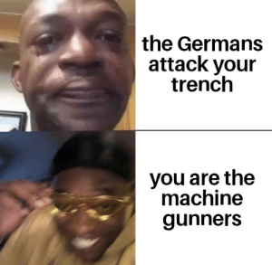 History, Ww1, and You: the Germans  attack your  trench  you are the  machine  gunners Ww1
