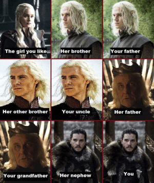 Game of Thrones, Tumblr, and Blog: The girl you like  Her brother  Your father  Her other brother  Your uncle  Her father  You  Your grandfather  Her nephew game-of-thrones-fans:  Sums it all up