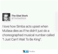"""Love, Memes, and Mufasa: The Glad Stork  @The Gladstork  I love how Simba acts upset when  Mufasa dies as if he didn't just do a  choreographed musical number called  """"I Just Can't Wait To Be King'.  GEf Postize"""