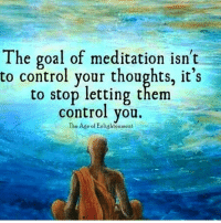 Memes, Meditation, and 🤖: The goal of meditation isn't  to control your thoughts, it's  to stop letting them  control you.  The Ade of Enlightenment workinprogress