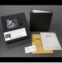 "Boxing, Memes, and Notebook: The  Godfa  Est  FRANcts FORD COPPOLA  The This rare signed limited edition of Francis Ford Coppola's ""The Godfather Notebook"" is the offer any Godfather fan can't refuse! This deluxe boxed set features an exact replica of Coppola's three-ring binder, booklet with exclusive photos, and rare ephemera including three cast lists from various stages of production, 20 notebook pages used for ""The Godfather Part II,"" 17 index cards with notes on the wedding scene, and more. Exclusively available at TheGodfatherNotebook.com."