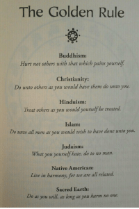 """Meme, Native American, and Tumblr: The Golden Rule  0  Buddhism:  Hurt not others with that which pains yourself  Christianity:  Do unto others as you would have then do unto you.  Hinduism  Treat others as you would yourselfbe treated.  Islam:  Do unoall men as you would rwish to heve done uno you  Judaism:  What you yourself hate, do to no man.  Native American:  Live in harmony, for we are all related.  Sacred Earth:  Do as you will, as long as you harm no one. <p>Golden Rule.<br/><a href=""""http://daily-meme.tumblr.com""""><span style=""""color: #0000cd;""""><a href=""""http://daily-meme.tumblr.com/"""">http://daily-meme.tumblr.com/</a></span></a></p>"""
