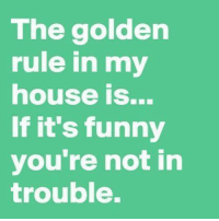 Funny, Memes, and My House: The golden  rule in my  house is...  If it's funny  you're not in  trouble. :) ME