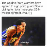A steal for the Warriors considering how much others are getting paid🔥 (via @ballershype) ➡Snapchat 👻 - ballershype ➡TURN ON POST NOTIFICATIONS 💥 ➡ FOLLOW @ballershype❗ Tags: nba nbamemes: The Golden State Warriors have  agreed to sign point guard Shaun  Livingston to a three-year, $24-  million contract. (via AP)  GOL  @ballonhype A steal for the Warriors considering how much others are getting paid🔥 (via @ballershype) ➡Snapchat 👻 - ballershype ➡TURN ON POST NOTIFICATIONS 💥 ➡ FOLLOW @ballershype❗ Tags: nba nbamemes