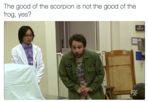 Memes, Good, and Scorpion: The good of the scorpion is not the good of the  frog, yes?  EXIT  STAIR UP  7