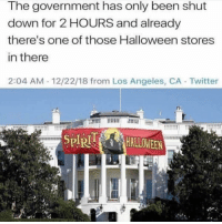 That was fast: The government has only been shut  down for 2 HOURS and already  there's one of those Halloween stores  in there  2:04 AM 12/22/18 from Los Angeles, CA Twitter  SPIRHALLOWEEN That was fast