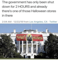 Meirl: The government has only been shut  down for 2 HOURS and already  there's one of those Halloween stores  in there  2:04 AM 12/22/18 from Los Angeles, CA Twitter  HALLOWEEN  yt Meirl