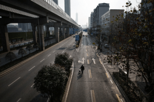 The government lockdown orders in Wuhan, China, have emptied the city's streets. [Stringer for NPR]: The government lockdown orders in Wuhan, China, have emptied the city's streets. [Stringer for NPR]